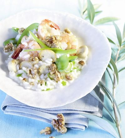 Walnuss-Risotto mit Scampi