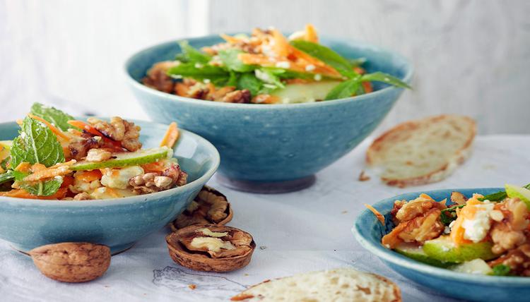 Birnen-Möhren Salat mit geröstetem Feta