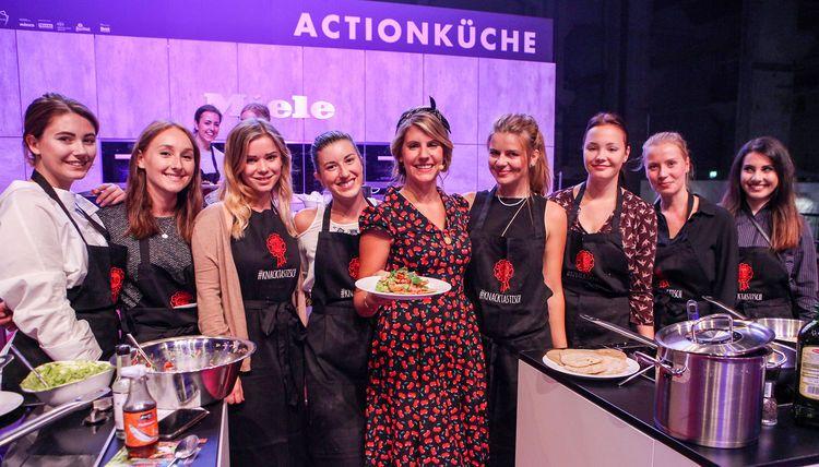 Felicitas Then mit den Köchen des California Cuisine Workshops auf der Berlin Food Week