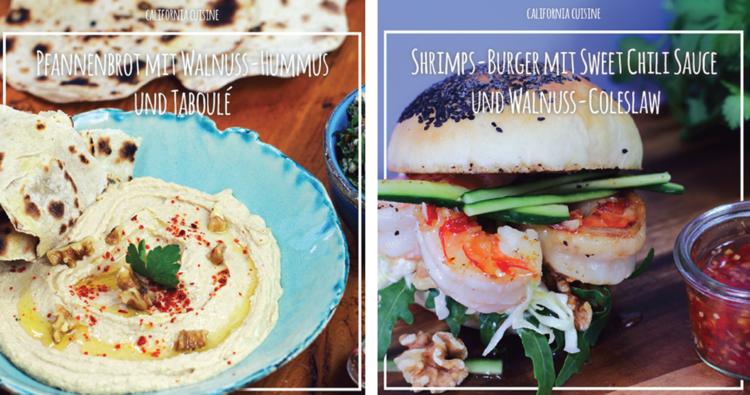 Pfannenbrot mit Walnuss-Hummus und Taboulé & Shrimps-Burger mit Sweel Chili Sauce und Walnuss-Coleslaw