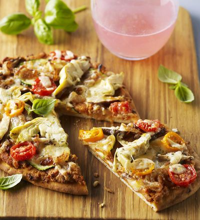 Vegetarische Walnuss-Pizza mit Naan