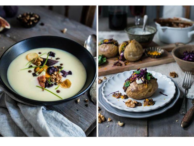 Walnuss-Kartoffelsuppe + Ofenkartoffel mit Walnuss-Crunch